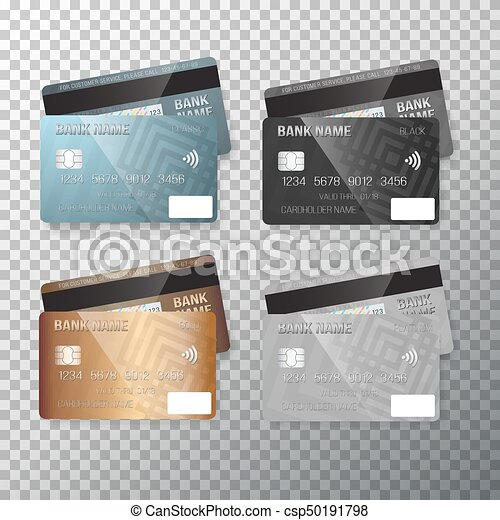 illustration of vector credit card set realistic bank cards