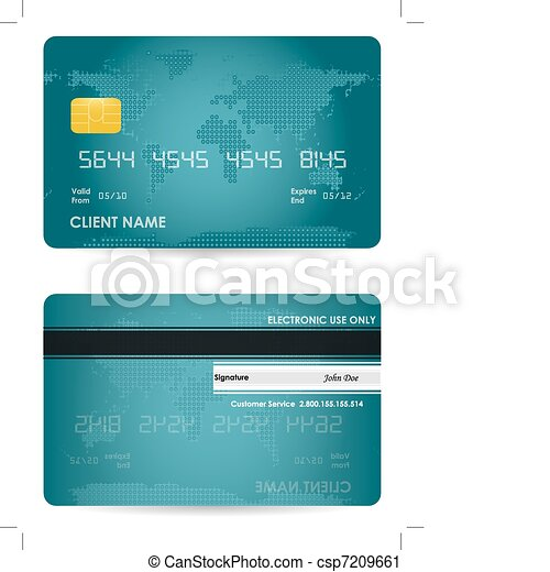Vector Credit Card Front And Back View