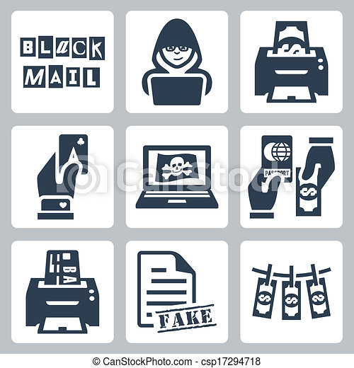 Vector criminal activity icons set: blackmail, hacking, counterfeiting, cardsharping, piracy, passport forgery, skimming, forgery of documents, money laundering - csp17294718
