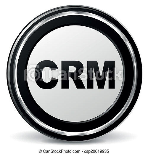 Vector Crm Icon Vector Illustration Of Black And Chrome Crm