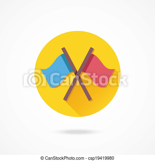 Vector Crossed Flags Icon - csp19419980