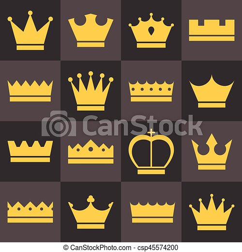 Vector crowns icons set, flat design - csp45574200