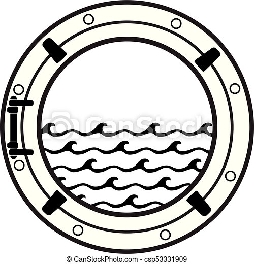 Vector Cruise Ship Cabin Porthole Icon