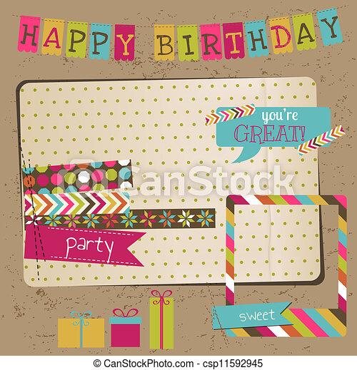 Diseñadores de cumpleaños para el álbum de recortes, invitación en vector - csp11592945