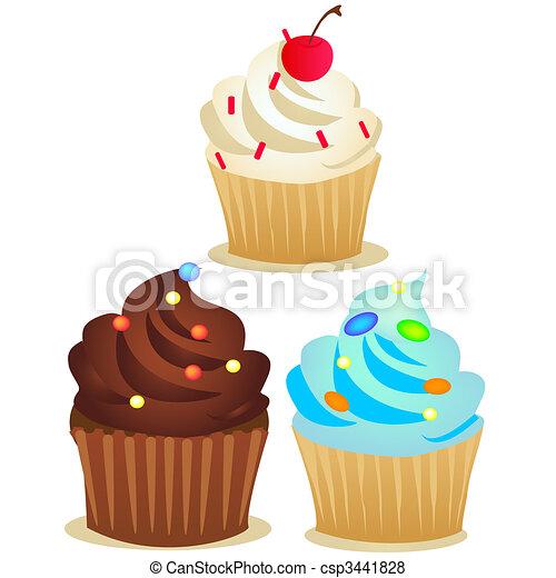 vector cup cake set - csp3441828