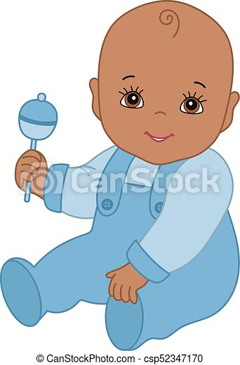 vector cute african american baby boy with rattle sitting rh canstockphoto com african american baby princess clipart african american baby clipart free