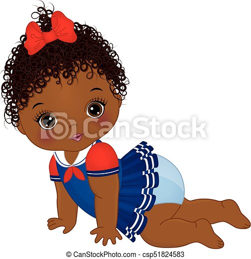vector cute african american baby girl dressed in nautical vector rh canstockphoto com african american baby clip art free african american baby shower clipart