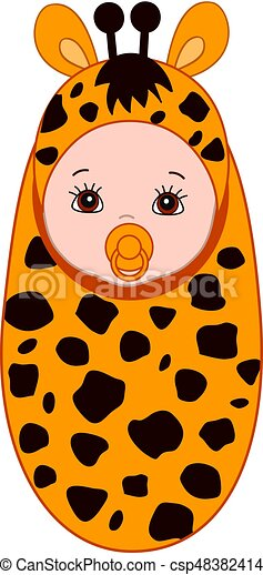 Vector Cute Baby In Giraffe Costume.  sc 1 st  Can Stock Photo & Vector cute baby in giraffe costume. Vector cute baby... vector clip ...
