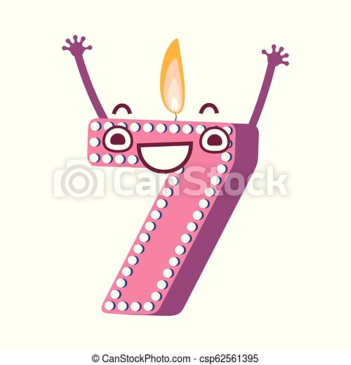 Vector Cute Birthday Candle Number Character Seven