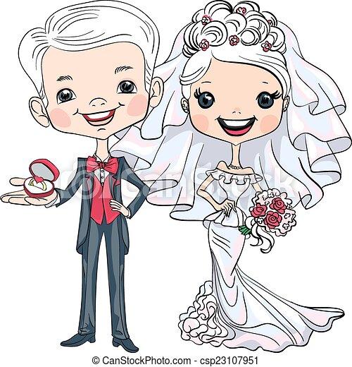 Vector Cute Bride And Groom Fashionable Beautiful Bride