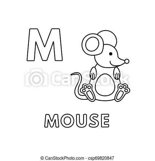 Vector Cute Cartoon Animals Alphabet Mouse Coloring Pages