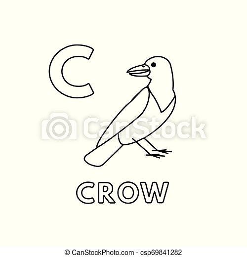Vector Cute Cartoon Animals Alphabet Crow Coloring Pages Alphabet With Cute Cartoon Animals Isolated On White Background Canstock