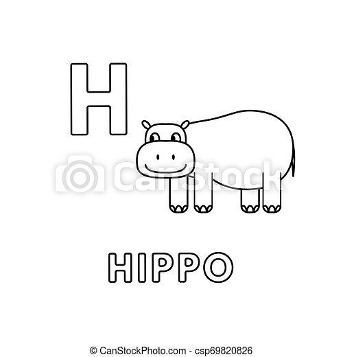 Vector Cute Cartoon Animals Alphabet Hippo Coloring Pages Alphabet With Cute Cartoon Animals Isolated On White Background