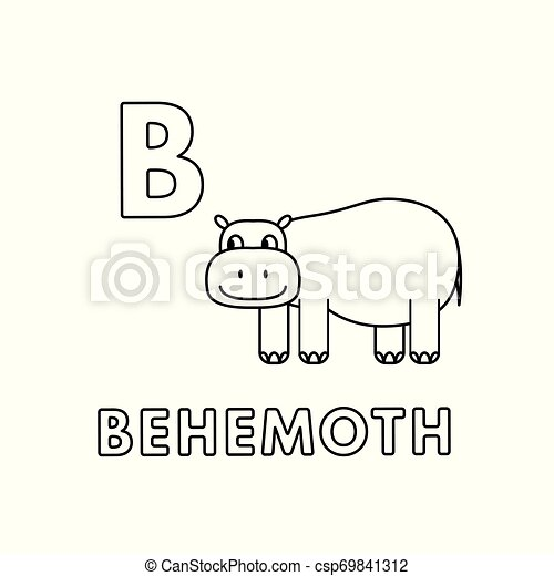 Vector Cute Cartoon Animals Alphabet Behemoth Coloring Pages