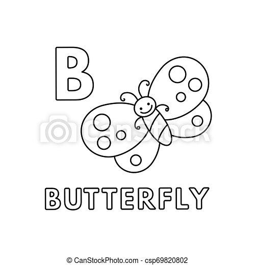 Vector Cute Cartoon Animals Alphabet Butterfly Coloring Pages Alphabet With Cute Cartoon Animals Isolated On White