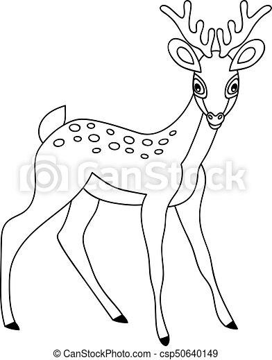 Vector Cute Cartoon Deer Vector Black And White Cute Forest Deer