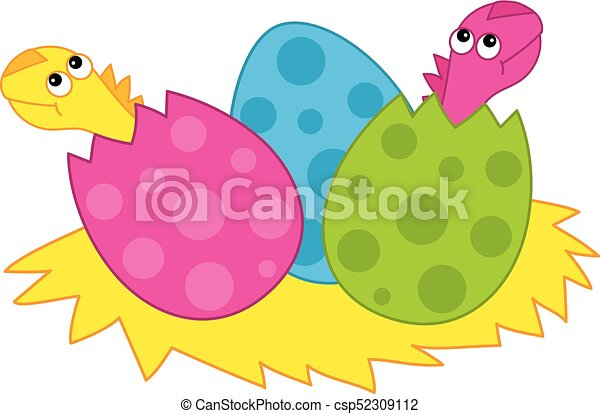 vector cute cartoon dinosaurs s babies hatching from egg vector rh canstockphoto com