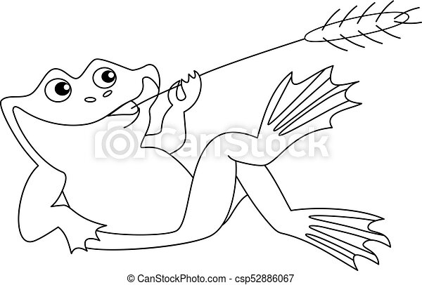 vector cute cartoon frog vector black and white cute funny frog rh canstockphoto com Black and White Colored Frog Frog Line Drawing