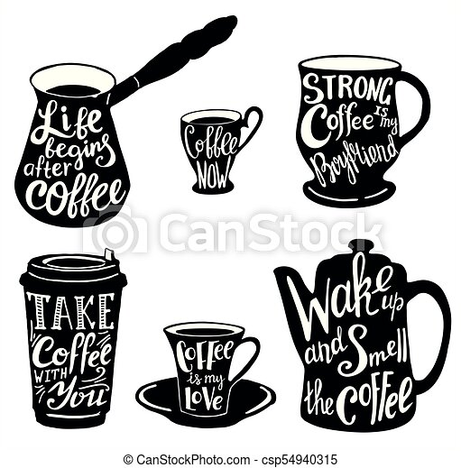 Vector Cute Coffee Quotes And Sayings Typography Set Vector Coffee