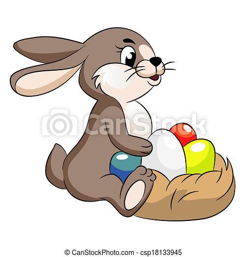 vector cute easter bunny illustration - csp18133945