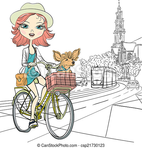 Vector cute girl with dog on the bike in Amsterdam - csp21730123