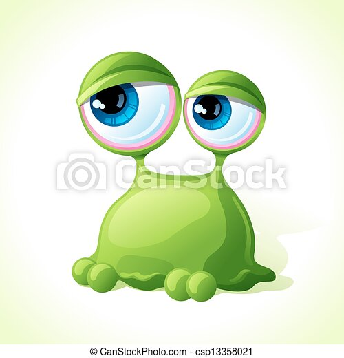 Vector cute green monster isolated on white background. - csp13358021