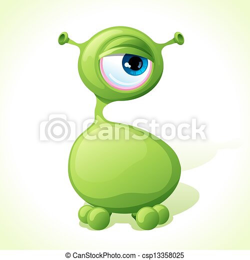 Vector cute green monster isolated on white background. - csp13358025