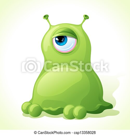 Vector cute green monster isolated on white background. - csp13358028