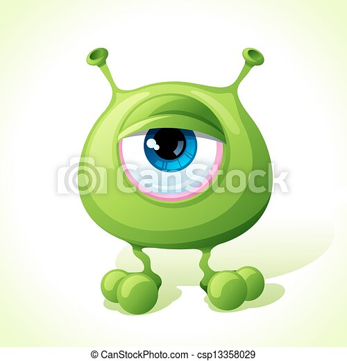 Vector cute green monster isolated on white background. - csp13358029