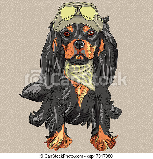 Vector Cute hipster dog Cavalier King Charles Spaniel breed - csp17817080