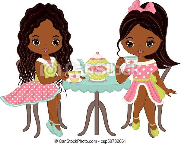 Download Vector cute little african american girls having tea ...