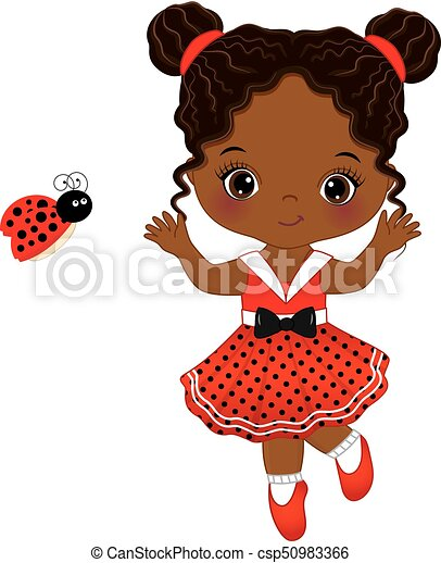 Vector Cute Little African American  with Ladybug - csp50983366