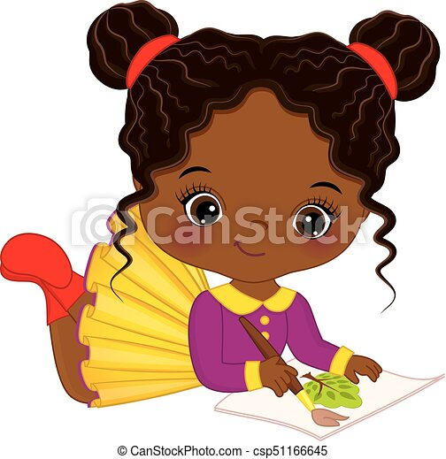 Download Vector cute little african american artist painting ...