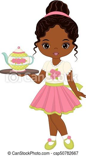 Download Vector cute little african american girl with tea pot ...