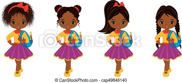 Download Vector cute little african american girl with school bags ...