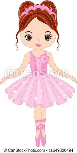 Vector Cute Little Ballerina Dancing - csp49300494