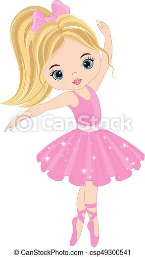 Vector Cute Little Ballerina Dancing - csp49300541