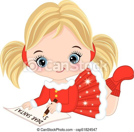 Vector Cute Little Girl Writing Letter To Santa Vector Cute Little