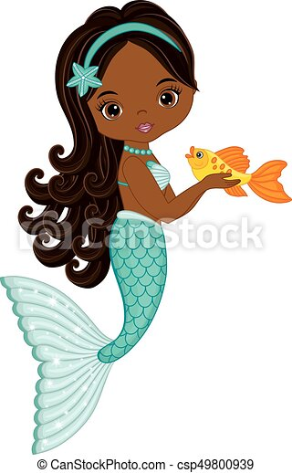 vector cute little mermaid with fish vector african vectors rh canstockphoto com the little mermaid clipart black and white