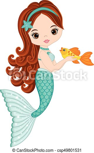Vector Cute Little Mermaid With Fish Vector Cute Little