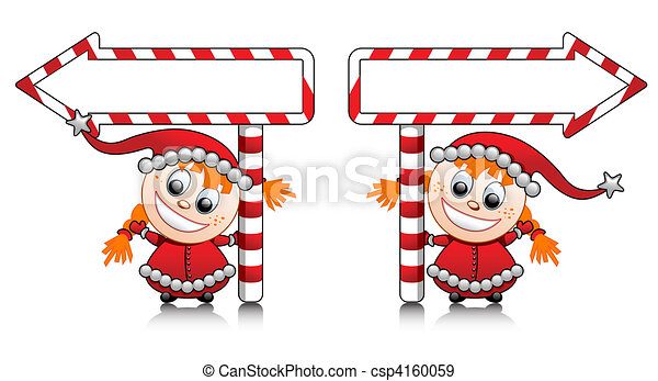 Vector cute Santa helper girls with - csp4160059