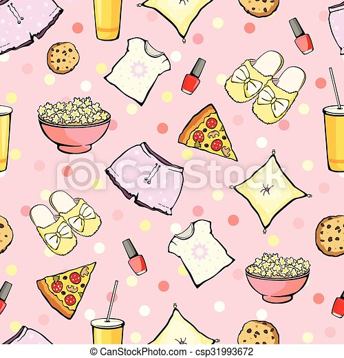 Vector Cute Sleepover Party Food Objects Seamless Pattern. Pizza. Popcorn. Pajamas. Treat. - csp31993672