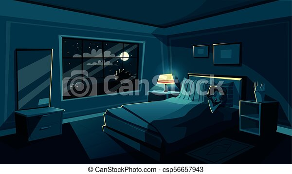 Vector Cute Young Woman Sleeping Bedroom At Night Vector Cute Young