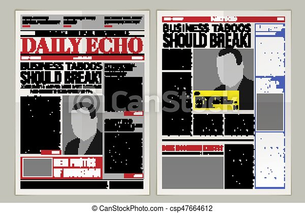 Vector Daily Newspaper Template Tabloid Layout Posting Reportage