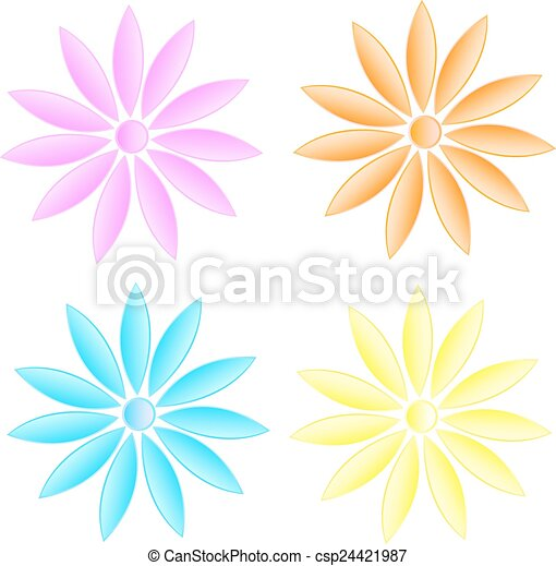 Vector daisy flowers set isolated on white - csp24421987