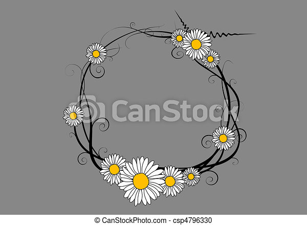 Daisy Flower Line Drawing : Vector daisy frame round on gray