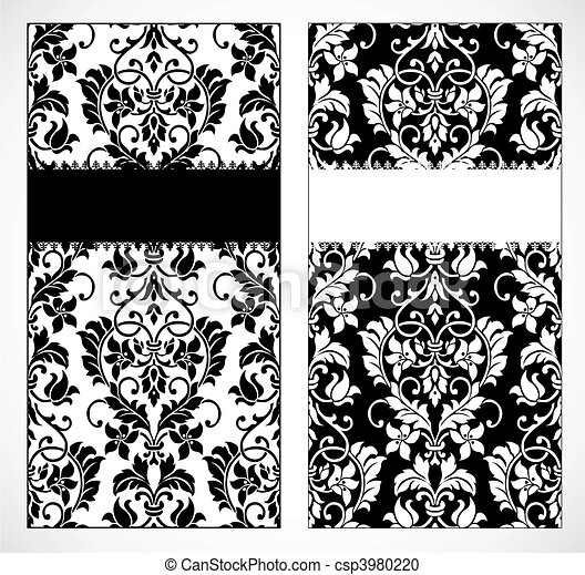 Vector damask frame set. Vector decorative frame. easy to scale and ...