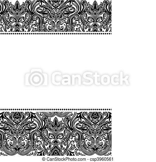 Vector damask pattern and frame. Vector damask pattern and frame ...