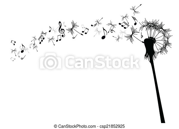 vector dandelion with music notes against the white rh canstockphoto com dandelion clipart black dandelion clipart free