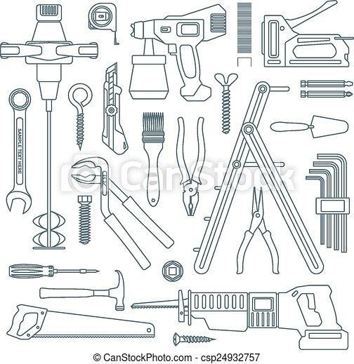 vector dark grey outline various house repair tools instruments set - csp24932757